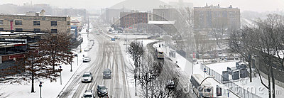 Street traffic during snow storm in the Bronx
