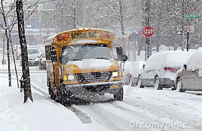 Street traffic during snow storm in New York Editorial Stock Photo