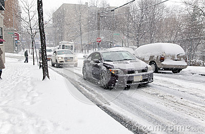 Street traffic during snow storm in New York Editorial Image