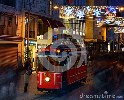 Street Tram on Istiklal street. Editorial Photography