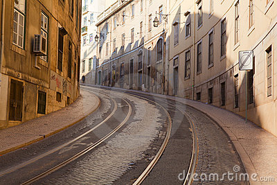 Street with tramway rails in Lisbon