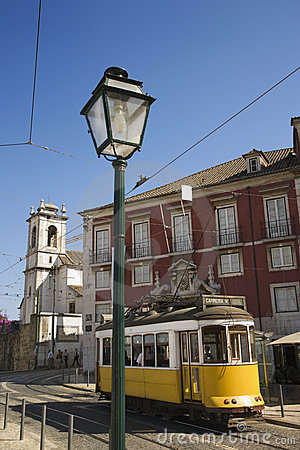 Street with trolley in Portugal.