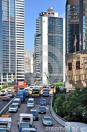Street vehicle and buildings of Hongkong city Editorial Stock Image