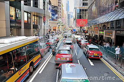 Street vehicle and traffic in Hongkong Editorial Stock Photo