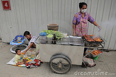 Street Vendor in Bangkok Editorial Stock Photo