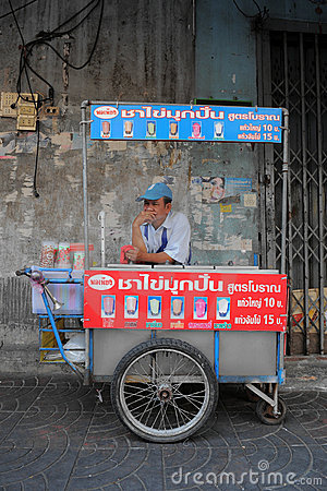 Street Vendor in Bangkok Editorial Photo