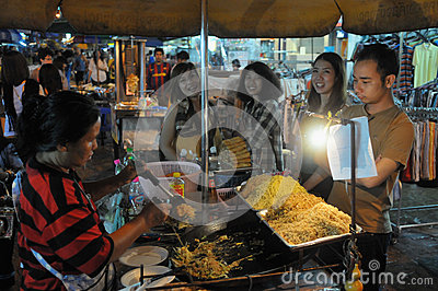 Street Vendor in Bangkok Editorial Stock Image