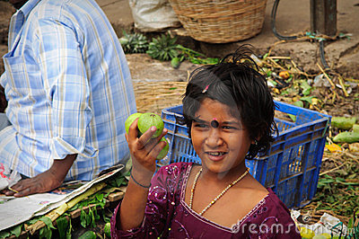 Street Vendor in India Selling Fruit Editorial Photo