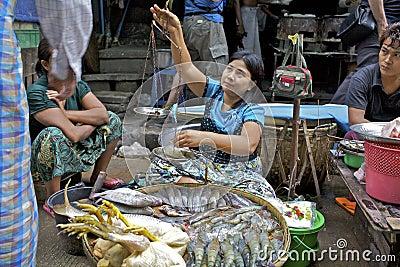 Street Vendor Myanmar Editorial Image