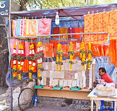 Street vendor selling temple items Editorial Image