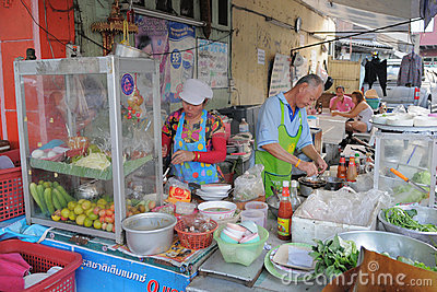 Street Vendors in Bangkok Editorial Stock Image