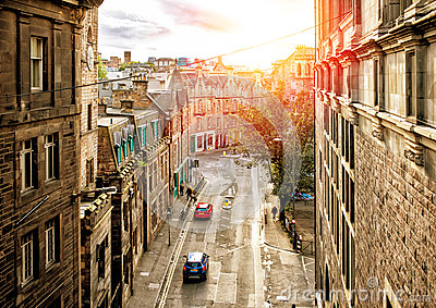 Street view of Edinburgh in sunset Stock Photo