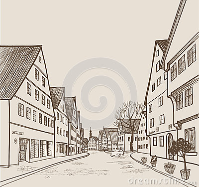 Free Street View In Old European City. Retro Cityscape - Houses, Buildings, Tree On Alleyway. Stock Photo - 77518490