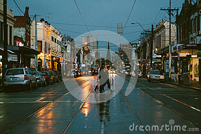 Street view of Melbourne Editorial Photography