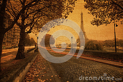 Street view of Paris with vintage paper texture