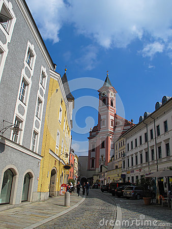 Street view in Passau, Bavaria, Germany