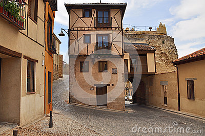 Street view, Segovia old town. Castile, Spain