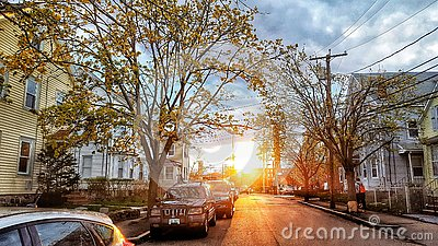 Street view in the sunset. Editorial Stock Photo
