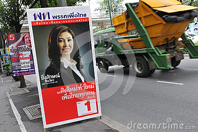 Street View with Thai Election Placard Editorial Stock Photo