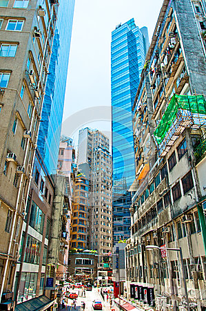 Street view in Wan Chai, Hong Kong Editorial Photo