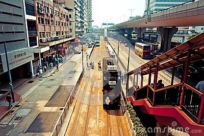 Street view in Wan Chai, Hong Kong Editorial Stock Image