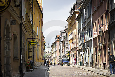 Street in Warsaw Editorial Photo