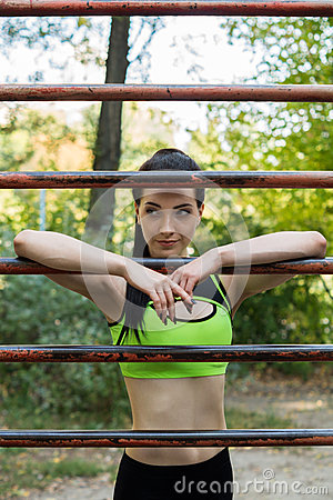 A street workout girl Stock Photo