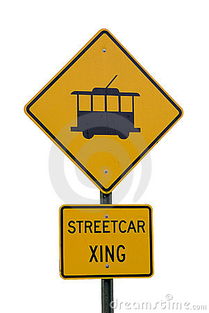 Streetcar crossing sign