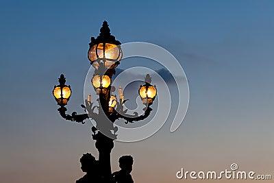 Streetlamp in the bridge Alexander III, Paris