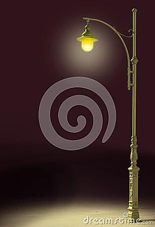 Streetlamp shines