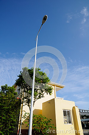 Streetlight in blue sky