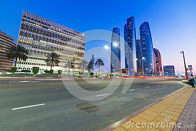 Streets of Abu Dhabi at night, UAE Editorial Stock Photo