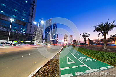 Streets of Abu Dhabi at night, UAE Editorial Stock Image