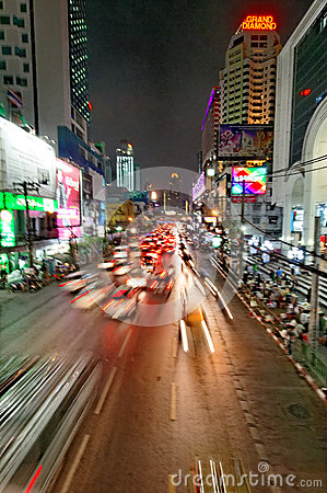 Streets of Bangkok at night Editorial Photography