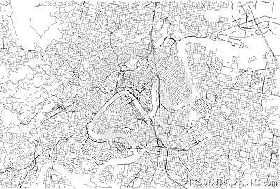 Streets of Brisbane, city map, Australia. Street map Vector Illustration