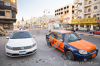 Streets of city center in Hurghada, Egypt Editorial Stock Image