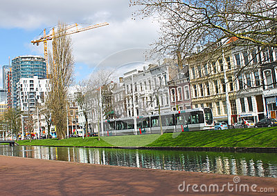 On  streets of the city of Rotterdam. Editorial Stock Photo