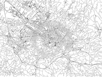 Streets of Florence, city map, Tuscany, Italy Vector Illustration