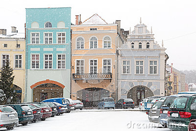 Square of Gniew town in winter scenery