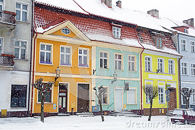 Streets of Gniew town in winter scenery