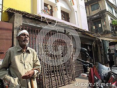 Streets of Kolkata. Beggar Editorial Stock Image