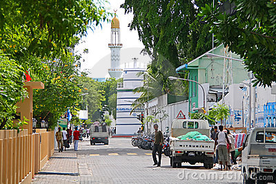 Streets of Male, capital city of Maldives Editorial Photography