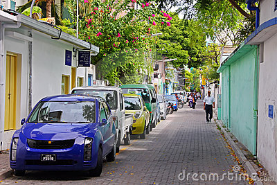 Streets of Male, capital city of Maldives Editorial Stock Image