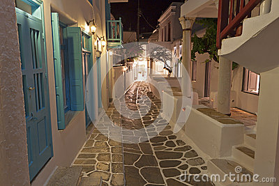 Streets at Mykonos island in Greece