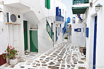 Streets of Mykonos island, Greece
