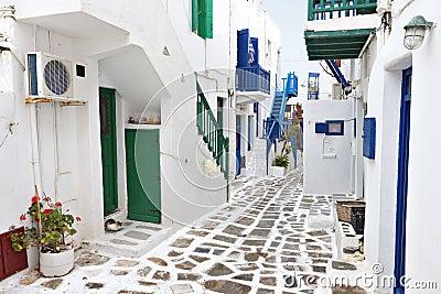 Streets of Mykonos island, Greece