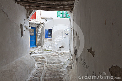 Streets at Mykonos island in Greece