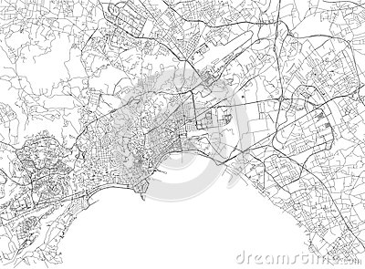 Streets of Naples, city map, Campania, Italy Vector Illustration