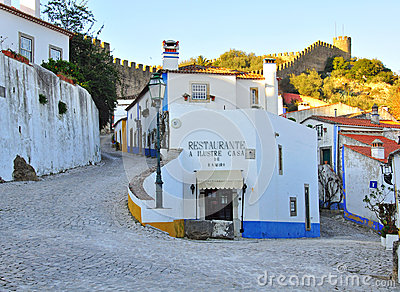 On the streets of Obidos, Portugal Editorial Photo