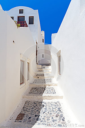 Streets of Oia village at Santorini island